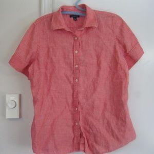Pink Lands End Linen Button Down Shirt - Large